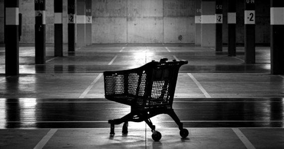 shopping trolley in empty car park