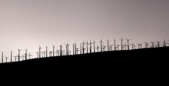large windfarm on a hill